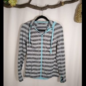 LUKKA gray striped zip up hooded jacket